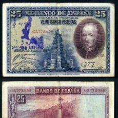 Billetes españoles: 25 PESETAS DE 1928 SELLO FRANQUISTA SALUDO A FRANCO ¡ARRIBA ESPAÑA! Y BUSTO DE FRANCO VIOLETA - Nº2. Lote 115260987