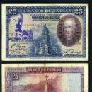 Billetes españoles: 25 PESETAS DE 1928 SELLO FRANQUISTA SALUDO A FRANCO ¡ARRIBA ESPAÑA! Y BUSTO DE FRANCO VIOLETA - Nº7. Lote 163079388