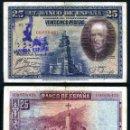 Billetes españoles: 25 PESETAS DE 1928 SELLO FRANQUISTA SALUDO A FRANCO ¡ARRIBA ESPAÑA! Y BUSTO DE FRANCO VIOLETA - Nº9. Lote 162650416