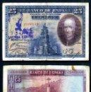 Billetes españoles: 25 PESETAS DE 1928 SELLO FRANQUISTA SALUDO A FRANCO ¡ARRIBA ESPAÑA! Y BUSTO DE FRANCO VIOLETA - Nº21. Lote 154329205