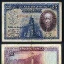 Billetes españoles: 25 PESETAS DE 1928 SELLO FRANQUISTA SALUDO A FRANCO ¡ARRIBA ESPAÑA! Y BUSTO DE FRANCO VIOLETA - Nº13. Lote 163135521