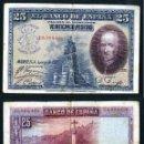 Billetes españoles: 25 PESETAS DE 1928 SELLO FRANQUISTA SALUDO A FRANCO ¡ARRIBA ESPAÑA! Y BUSTO DE FRANCO VIOLETA - Nº15. Lote 154344685