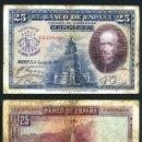 Billetes españoles: 25 PESETAS DE 1928 SELLO FRANQUISTA SALUDO A FRANCO ¡ARRIBA ESPAÑA! Y BUSTO DE FRANCO VIOLETA - Nº28. Lote 163079588
