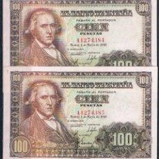 Billetes españoles: PAREJA CORRELATIVA DE 100 PESETAS 1948 SERIE-A EBC++. Lote 89006324