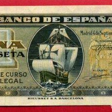 Billetes españoles: BILLETE 1 PESETA SEPTIEMBRE 1940 , PLANCHA , SERIE G , ORIGINAL , T290. Lote 89022808