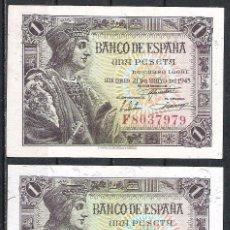 Billetes españoles: 2 BILLETES 1 PESETA 1943 S/C. Lote 89433344