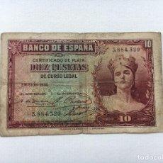 Billetes españoles: BILLETE ESPAÑA 10 PESETAS 1935. Lote 90743905