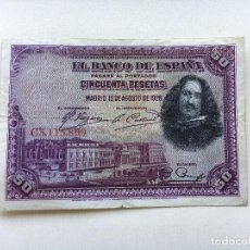 Billetes españoles: BILLETE ESPAÑA 50 PESETAS 1928 VELÁZQUEZ. Lote 90744565