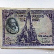 Billetes españoles: BILLETE ESPAÑA 100 PESETAS 1928 CERVANTES. Lote 90982565