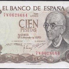 Billetes españoles: 100 PESETAS 1970 SERIE 7W, ULTIMA EMITIDA, SIN CIRCULAR/PLANCHA. Lote 92088400