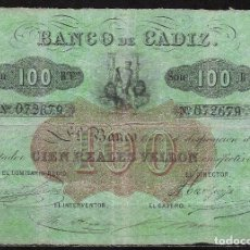 Billetes españoles: 100 REALES VELLON BANCO DE CADIZ 3ª EMISION MBC-. Lote 92124795