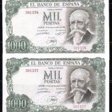 Billetes españoles: PAREJA CORRELATIVA 1000 PESETAS 1971 SIN SERIE S/C. Lote 92785390