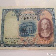 Billetes españoles: BILLETE * 500 PESETAS * 24 DE JULIO DE 1927 *. Lote 93905650