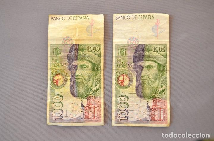 Billetes españoles: Dos billetes de mil pesetas - Foto 2 - 94028680