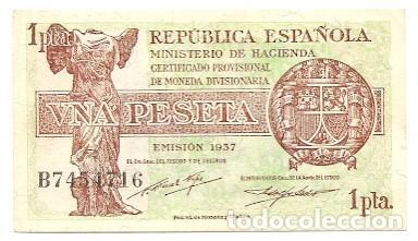 BILLETE UNA PESETA 1937 - REPÚBLICA - 1 PESETA (Numismática - Notafilia - Billetes Españoles)