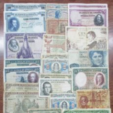 Billetes españoles: 30 BILLETES DE ALFONSO XIII, 2ª REPUBLICA, LOCAL, DEL ESTADO ESPAÑOL Y JUAN CARLOS I. LOTE 0596. Lote 95128639