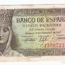 Billetes españoles: A07 - 5 PESETAS BANCO ESPAÑA MADRID EMISION 13-2-1943. Lote 95252751