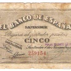 Billetes españoles: A08 - 5 PESETAS BANCO ESPAÑA SANTANDER EMISION 1-11-1936. Lote 95253059
