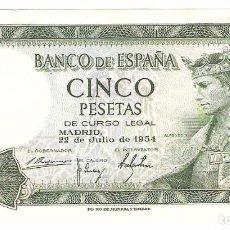 Billetes españoles: A12 - CINCO PESETAS BANCO ESPAÑA MADRID EMISION 22-7-1954. Lote 95328015