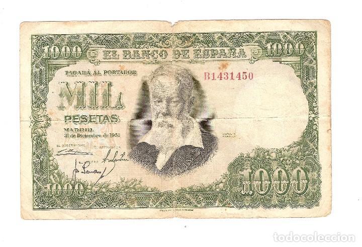 BILLETE - 1.000 PESETAS EM. 31-12-1951- CIRCULADO - VER FOTOS (Numismática - Notafilia - Billetes Españoles)