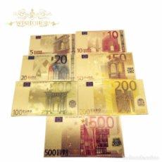 Billetes españoles: COLECCION 7 BILLETES LAMINADOS EN ORO 24KT - ESPAÑA EUROS - VER FOTOS Y DESCRIPCION. Lote 120152878