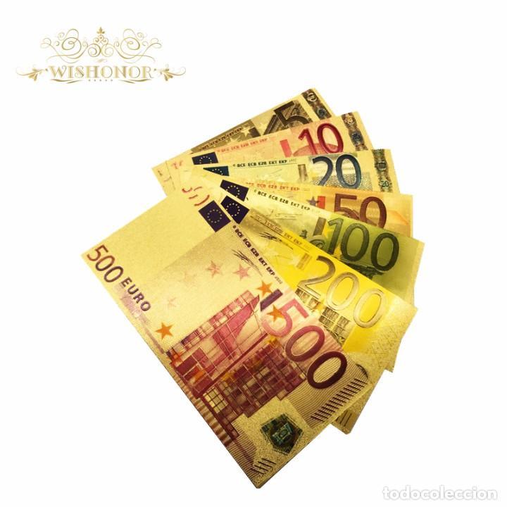 Billetes españoles: COLECCION 7 BILLETES LAMINADOS EN ORO 24KT - ESPAÑA EUROS - VER FOTOS Y DESCRIPCION - Foto 2 - 120152878