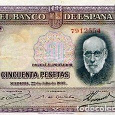 Billetes españoles: BILLETES ANTIGUOS DE ESPAÑA A BUEN PRECIO BARATOS BILLETE ESPAÑOLES 50 PESETAS 22 JULIO DE AÑO 1935. Lote 95455999