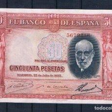 Billetes españoles: 50 PESETAS DE 1935 !OJO! COLOR ROJO EBC++. Lote 95461511