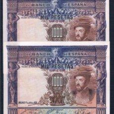 Billetes españoles: PAREJA CORRELATIVA DE 1000 PESETAS 1925 EBC++. Lote 95461715