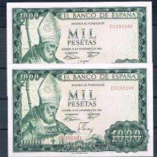 Billetes españoles: PAREJA CORRELATIVA DE 1000 PESETAS 1965 EBC++. Lote 95461743
