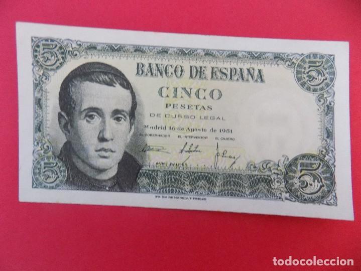 BILLETE DE 5 PESETAS 1951 (JAIME BALMES) CON SERIE U - CALIDAD SC - .. R-7085 (Numismática - Notafilia - Billetes Españoles)