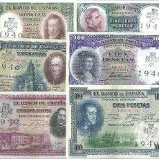 Billetes españoles: LOTE 6 BILLETES ESTADO ESPAÑOL RESELLO CRUZ DE SAN HERMENEGILDO FALANGE REF 3298. Lote 97493356