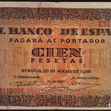 Billetes españoles: BILLETE 100 PESETAS 1938. Lote 97163615