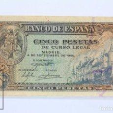Billetes españoles: BILLETE DE 5 PESETAS / PTAS - EMISIÓN 4 DE SEPTIEMBRE DE 1940 - SERIE J - CALIDAD MBC. Lote 98358855