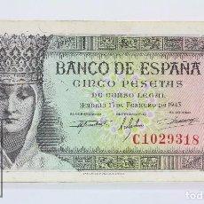 Billetes españoles: BILLETE DE 5 PESETAS / PTAS - EMISIÓN 13 DE FEBRERO DE 1943 - SERIE C - CALIDAD MBC. Lote 98359559