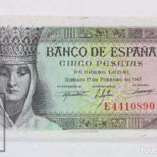 Billetes españoles: BILLETE DE 5 PESETAS / PTAS - EMISIÓN 13 DE FEBRERO DE 1943 - SERIE E - CALIDAD SC. Lote 98359623