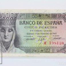 Billetes españoles: BILLETE DE 5 PESETAS / PTAS - EMISIÓN 13 DE FEBRERO DE 1943 - SERIE H - CALIDAD SC. Lote 98359771