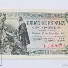 Billetes españoles: BILLETE DE 5 PESETAS / PTAS - EMISIÓN 15 DE JUNIO DE 1945 - SERIE L - CALIDAD EBC. Lote 98359891