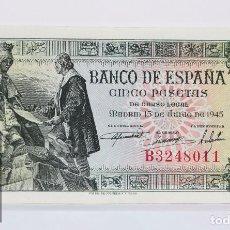 Billetes españoles: BILLETE DE 5 PESETAS / PTAS - EMISIÓN 15 DE JUNIO DE 1945 - SERIE B - CALIDAD SC. Lote 98360119
