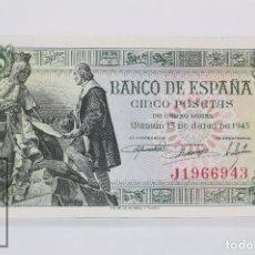 Billetes españoles: BILLETE DE 5 PESETAS / PTAS - EMISIÓN 15 DE JUNIO DE 1945 - SERIE J - CALIDAD SC. Lote 98360155