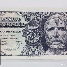 Billetes españoles: BILLETE DE 5 PESETAS / PTAS - EMISIÓN 12 DE ABRIL DE 1947 - SERIE E - CALIDAD SC. Lote 98360423