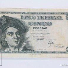 Billetes españoles: BILLETE DE 5 PESETAS / PTAS - EMISIÓN 5 DE MARZO DE 1948 - SERIE D - CALIDAD BC. Lote 98360871