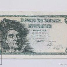 Billetes españoles: BILLETE DE 5 PESETAS / PTAS - EMISIÓN 5 DE MARZO DE 1948 - SIN SERIE - CALIDAD EBC. Lote 98361163