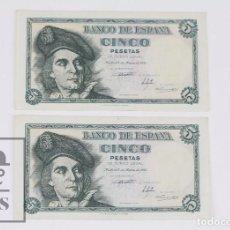 Billetes españoles: PAREJA CORRELATIVA DE BILLETES 5 PESETAS / PTAS - EMISIÓN 5 DE MARZO DE 1948 - SERIE E - SC. Lote 98361363