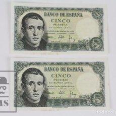 Billetes españoles: PAREJA CORRELATIVA DE BILLETES 5 PESETAS / PTAS - EMISIÓN 16 DE AGOSTO DE 1951 - SIN SERIE - EBC+. Lote 98361903