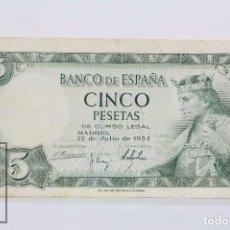 Billetes españoles: BILLETE DE 5 PESETAS / PTAS - EMISIÓN 22 DE JULIO DE 1954 - SERIE K - CALIDAD BC. Lote 98362687