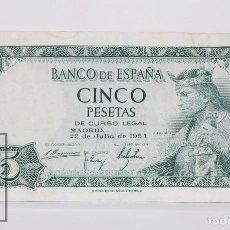 Billetes españoles: BILLETE DE 5 PESETAS / PTAS - EMISIÓN 22 DE JULIO DE 1954 - SIN SERIE - CALIDAD EBC. Lote 98363139