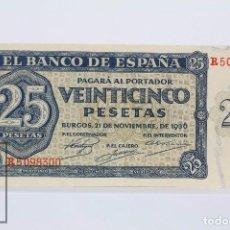 Billetes españoles: BILLETE DE 25 PESETAS / PTAS - EMISIÓN 21 DE NOVIEMBRE DE 1936, BURGOS - SERIE R - CALIDAD EBC+. Lote 98363639