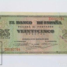 Billetes españoles: BILLETE DE 25 PESETAS / PTAS - EMISIÓN 20 DE MAYO DE 1938, BURGOS - SERIE D - CALIDAD EBC. Lote 98364087