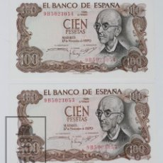 Billetes españoles: PAREJA CORRELATIVA DE BILLETES 100 PESETAS / PTAS - EMISIÓN 17 DE NOVIEMBRE DE 1970 - SERIE 9B - SC. Lote 143241006